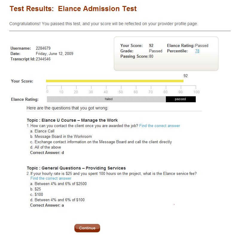 Elance Admission Test